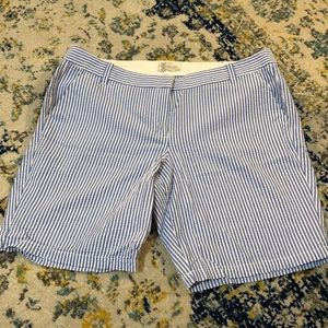 JCrew Bermuda blue/white Seersucker Shorts Sz14